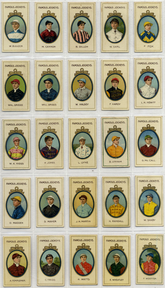 Taddy & Co 1910 Famous Jockeys, complete set of 25 (with frame), Cat. £800
