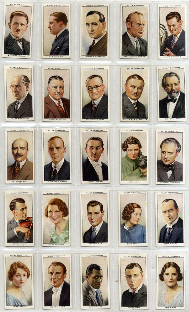 Wills 1934 Radio Celebrities, complete set of 50, Cat £35