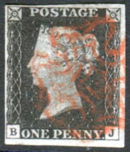 1840 1d black - Plate 1b BJ