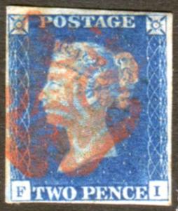 1840 2d blue - Plate 2 FI