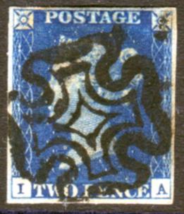 1840 2d blue - Plate 1 IA