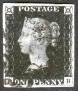 1840 1d black - Plate 7 AB