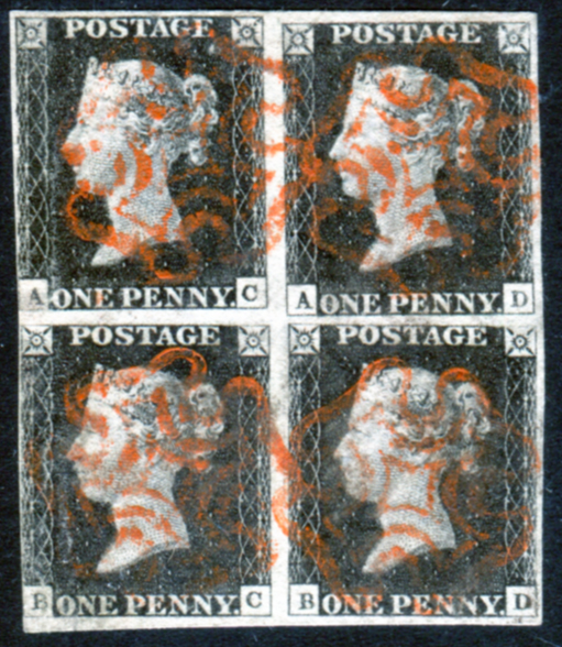 1840 1d black - Plate 3 AC/BD BLOCK OF FOUR