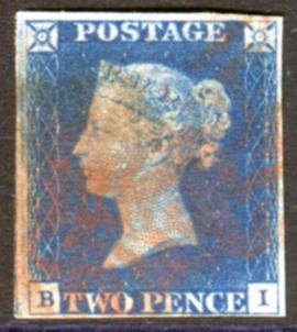 1840 2d blue - Plate 1 BI