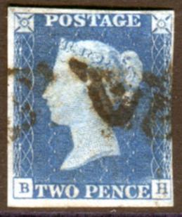 1840 2d blue - Plate 1 BH