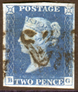 1840 2d blue - Plate 1 BG