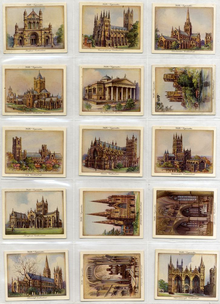 Wills 1933 Catherdrals, complete set of 25, large cards, Cat. £120