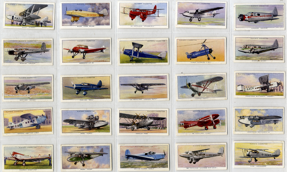 John Player 1935 Aeroplanes (civil), complete set of 50, Cat. £50