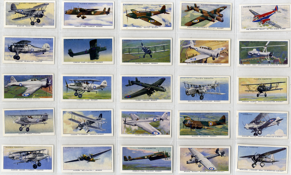 John Player 1938 Aircraft of the Royal Air Force, complete set of 50, Cat. £50