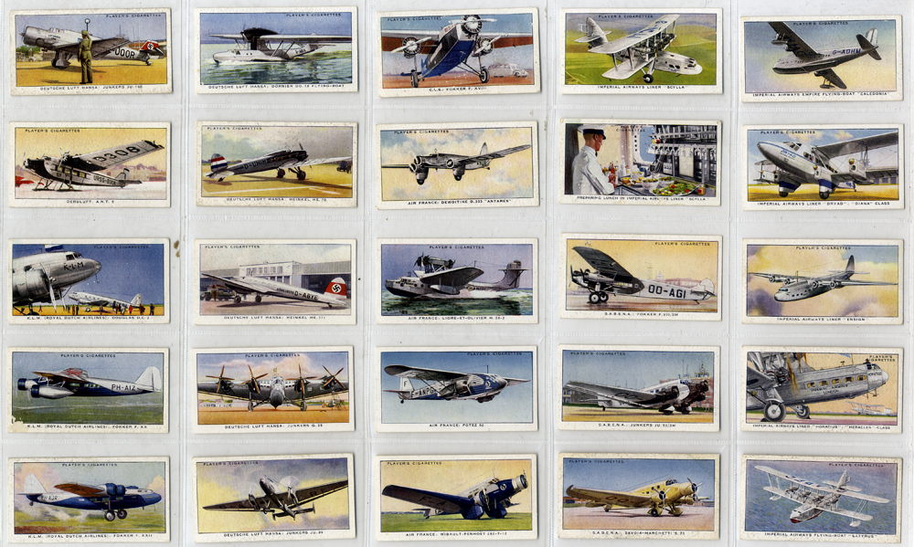 John Player International Air Liners, complete set of 50, Cat. £20