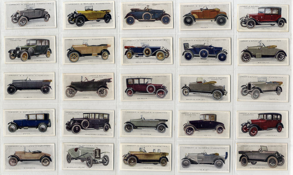 Lambert & Butler 1922 Motor Cars, complete set of 25, Cat. £65