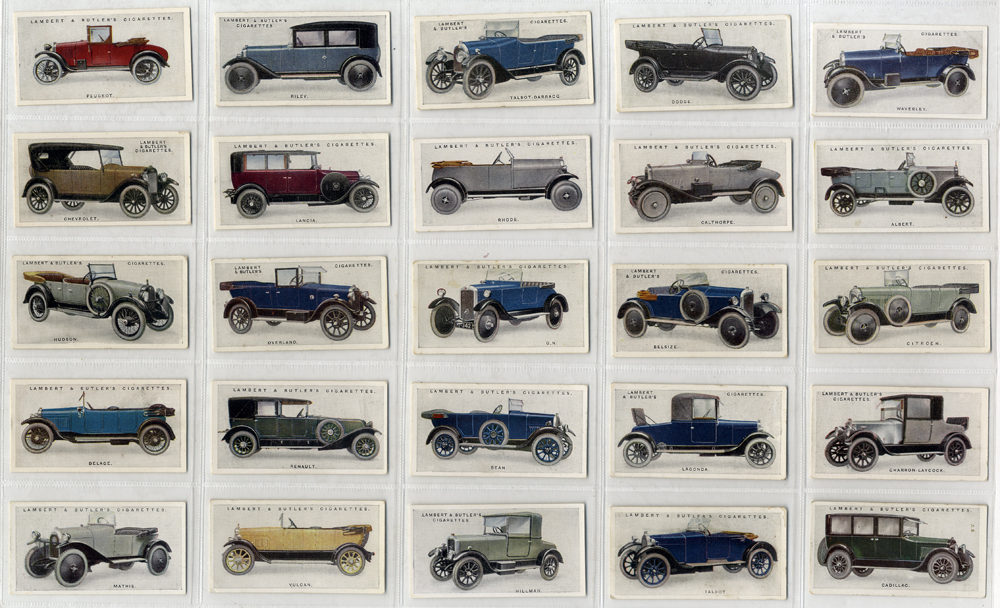 Lambert & Butler 1923 Motor Cars, 2nd series, complete set of 25, Cat. £65