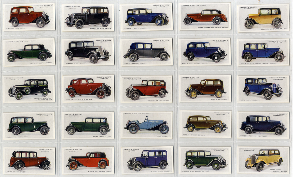 Lambert & Butler 1934 Motor Cars (grey back), complete set of 25, Cat. £90