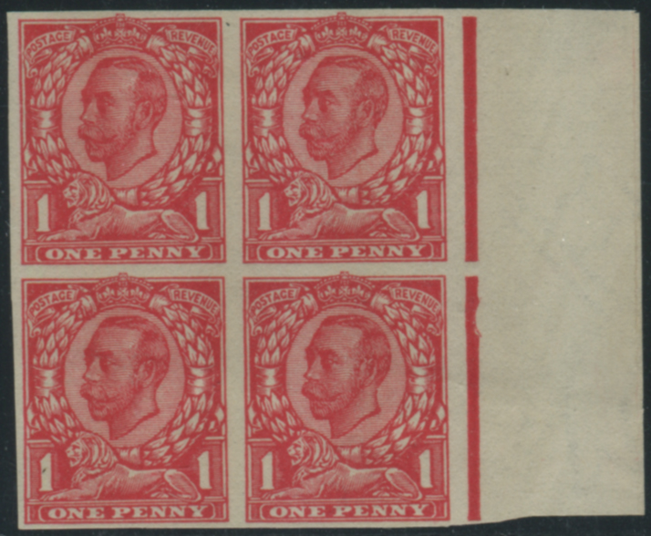 1912 1d scarlet (Die 2 Paper Trial) Imperforate block of four