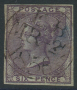 1856 6d deep mauve Plate Proof Imperforate on azure paper