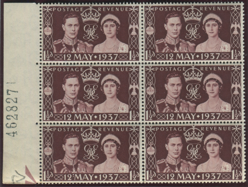 1937 Coronation 1½d - block of six with colon flaw