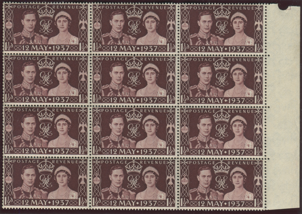 1937 Coronation 1½d - block of nine with comet flaw