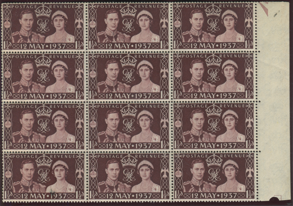 1937 Coronation 1½d - block of twelve with 'spur to left leg of A'