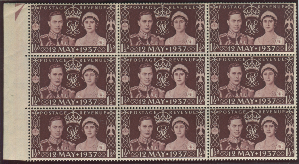 1937 Coronation 1½d marginal - block of nine with 'line under 2 of 12'