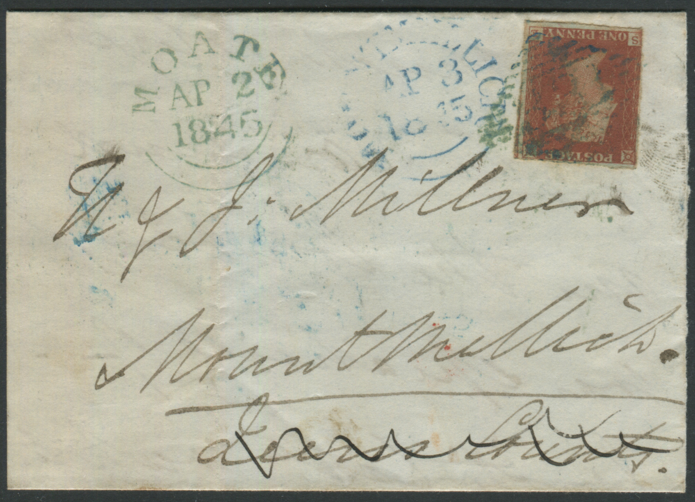 1845 wrapper from Moate to Mountmellick franked 1841 1d SE