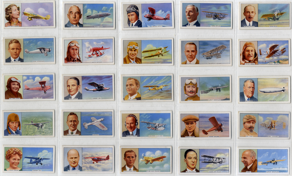 Carreras 1936 Famous Airmen & Airwomen, complete set of 50, Cat. £85