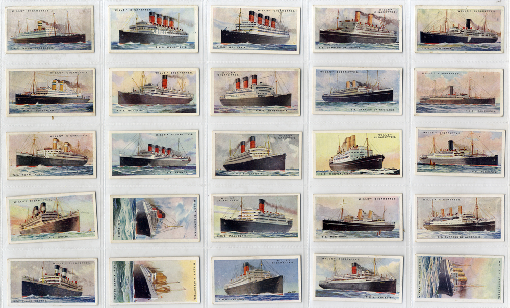 Wills 1924 Merchant Ships of the World, complete set of 50, Cat. £70