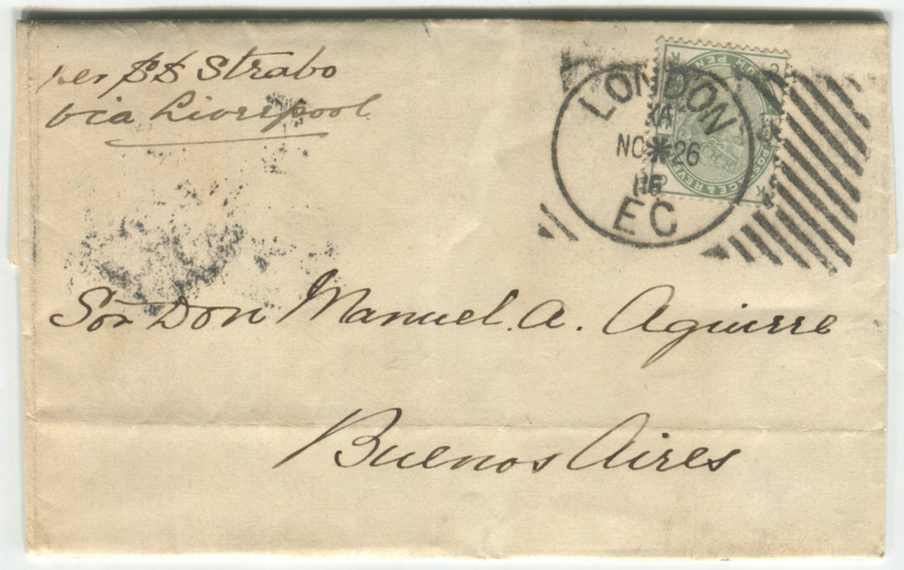 ARGENTINA 1886 cover via Liverpool to Buenos Aires