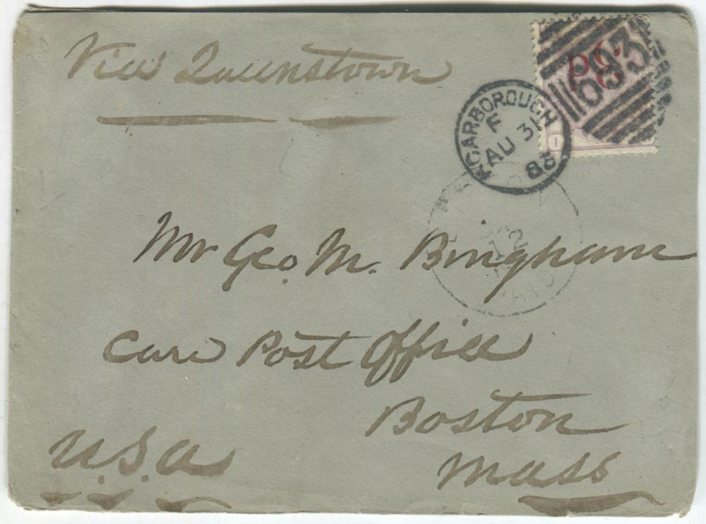 1883 envelope to Boston, USA, franked 3d on 3d