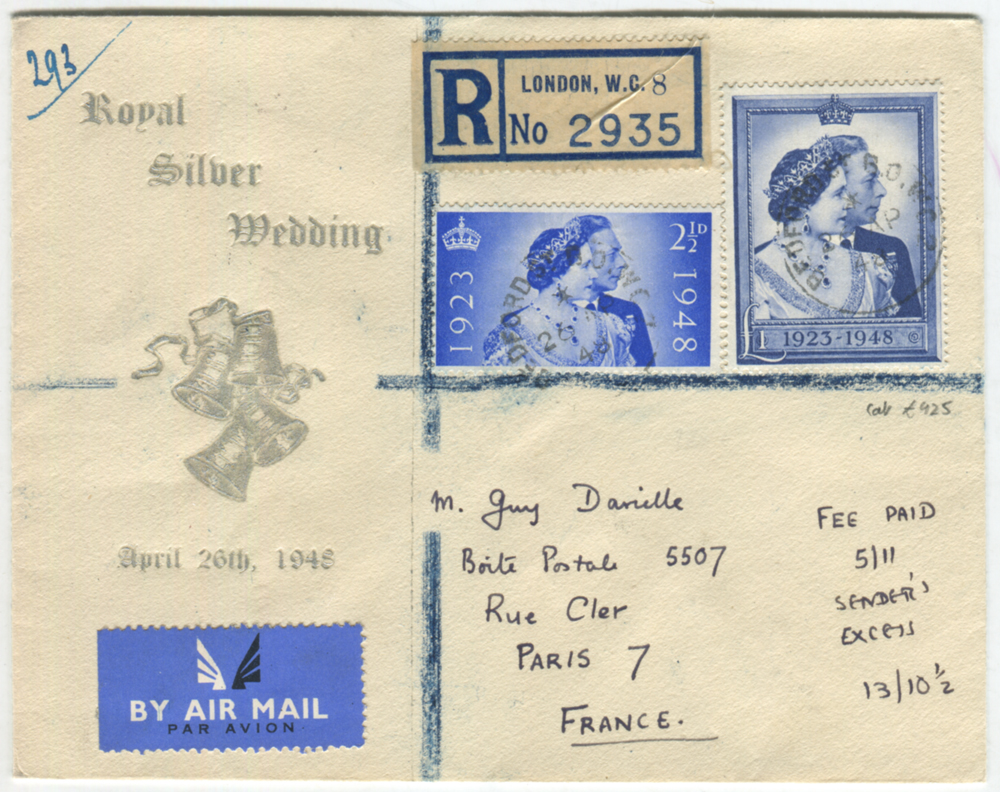 1948 Silver Wedding set together on an illustrated registered FDC airmail to Paris.