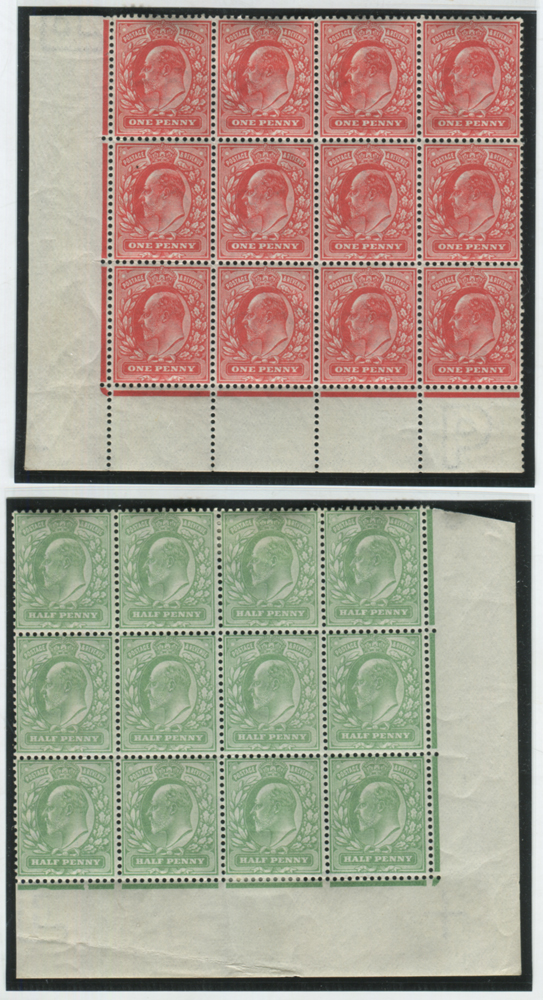 1902 DLR ½d yellowish green - corner marginal block of twelve