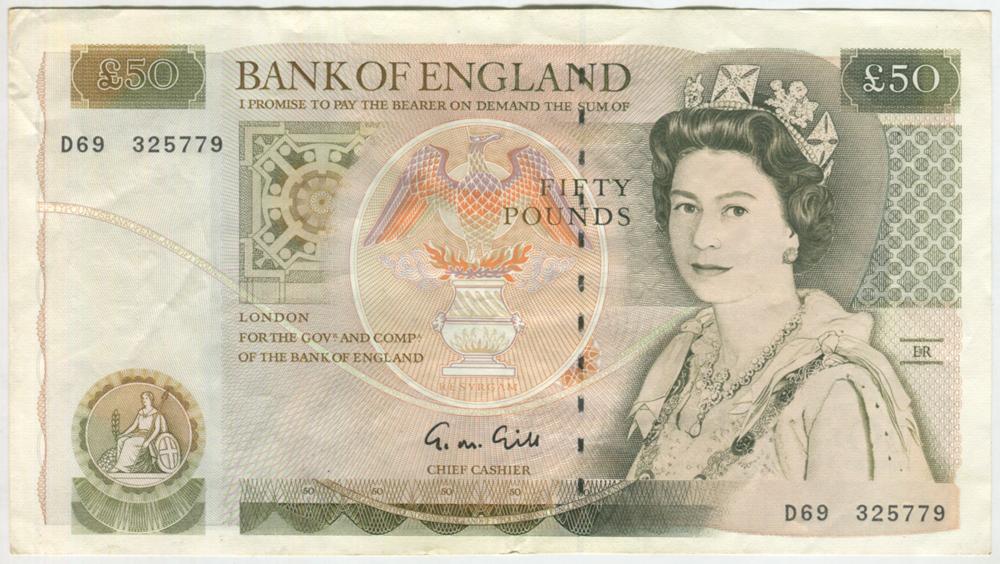 1988-1991 Gill £50 Windowed Security Thread