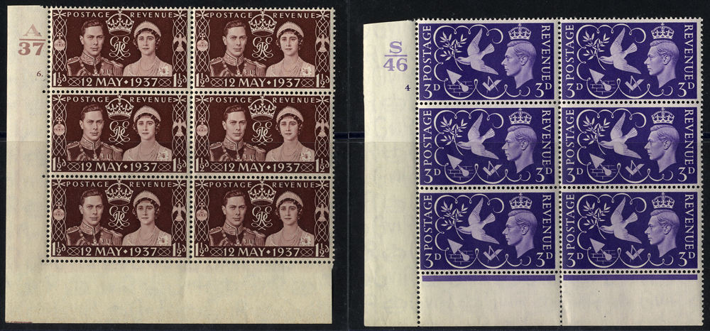 1937 Coronation 1½d & 1946 Victory 3d Cylinder blocks of six