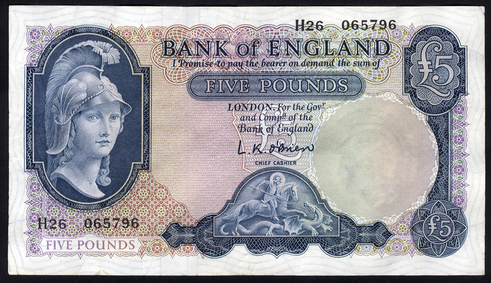 1961 O'Brien £5 Helmeted Britannia