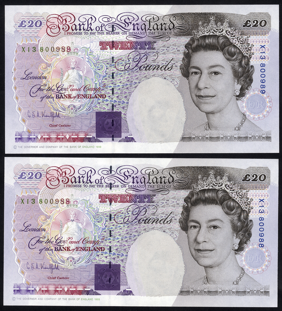 1993 Kentfield £20 - consecutive pair