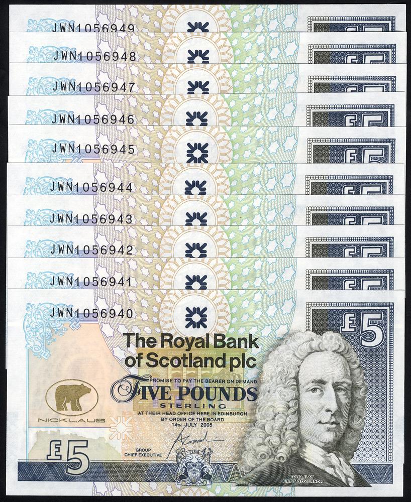 Royal Bank of Scotland - 2005 £5 Goodwin - consecutive run of 10