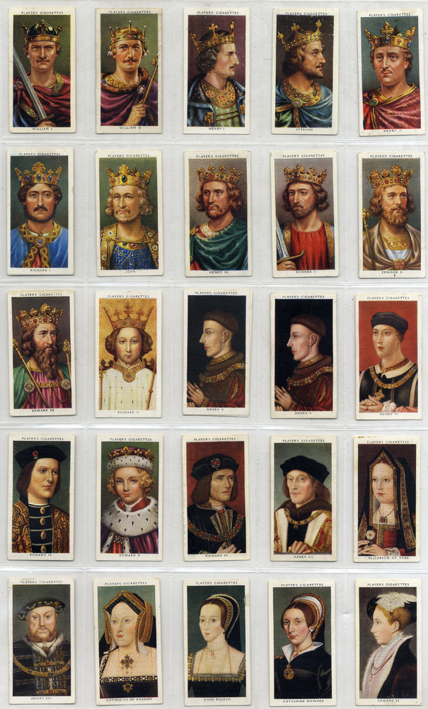 John Player 1935 Kings & Queens of England, complete set of 50, Cat. £75