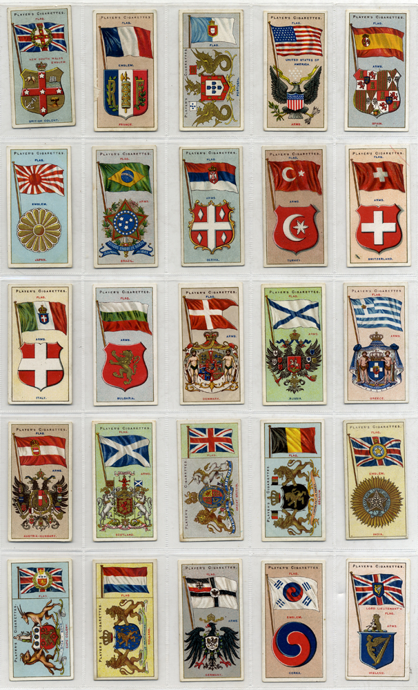 John Player 1905 Country Arms & Flags, complete set of 50, Cat. £45