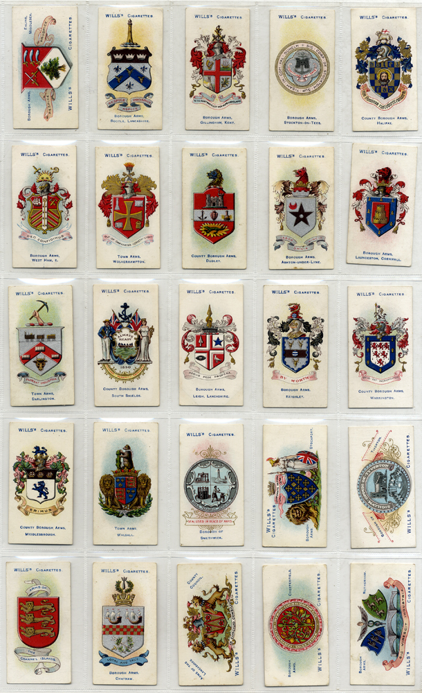 Wills 1905 Borough Arms, 3rd series (101.150 red), complete set of 50, Cat. £35