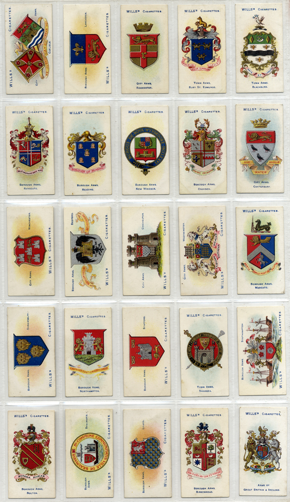 Wills 1904 Borough Arms, complete set of 50, Cat. £30