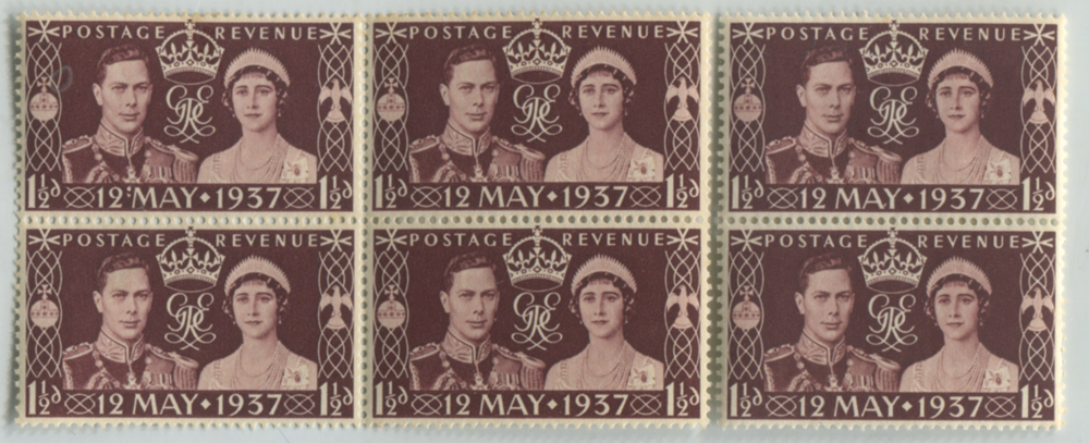 1937 Coronation 'colon' flaw in a M block of four