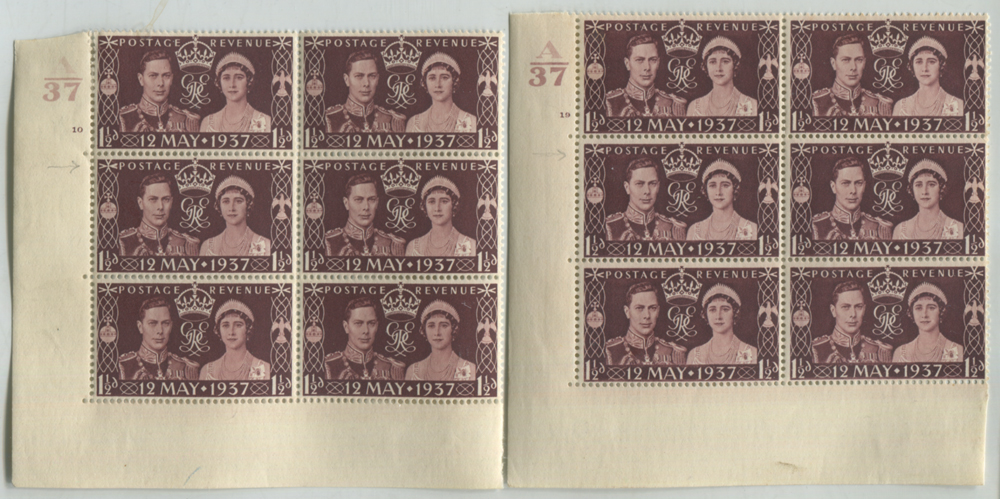 1937 Coronation Cylinder blocks of six (2)