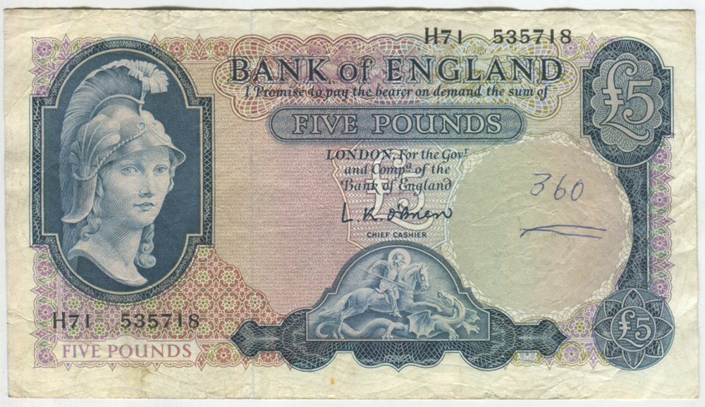 1961 O'Brien £5 Helmeted Britannia