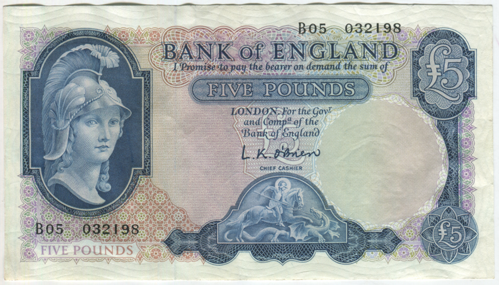 1957 O'Brien £5 Helmeted Britannia