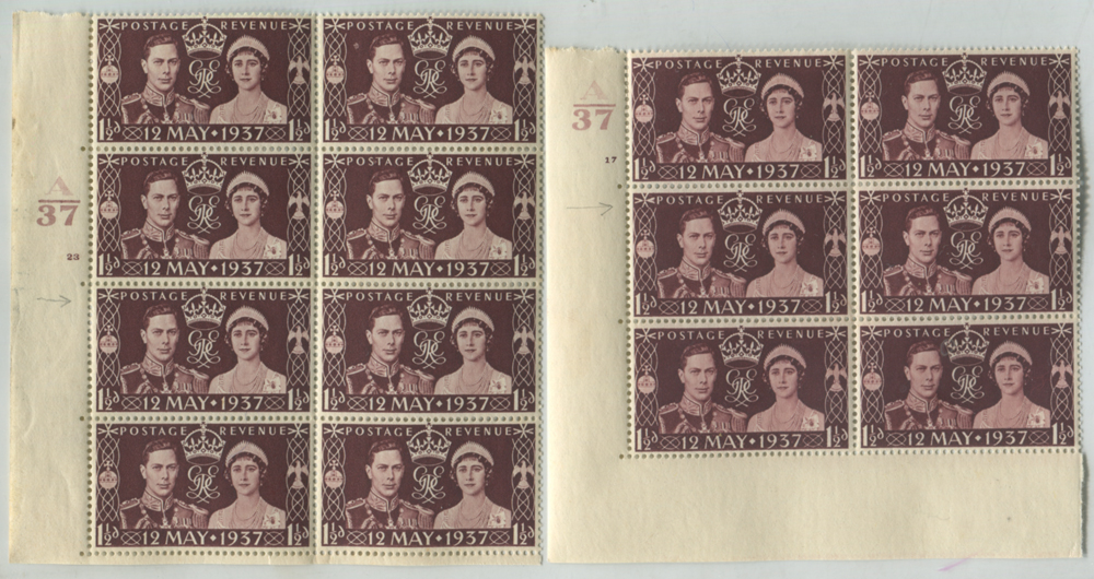 1937 Coronation Cylinder block of six incl. Ray flaw