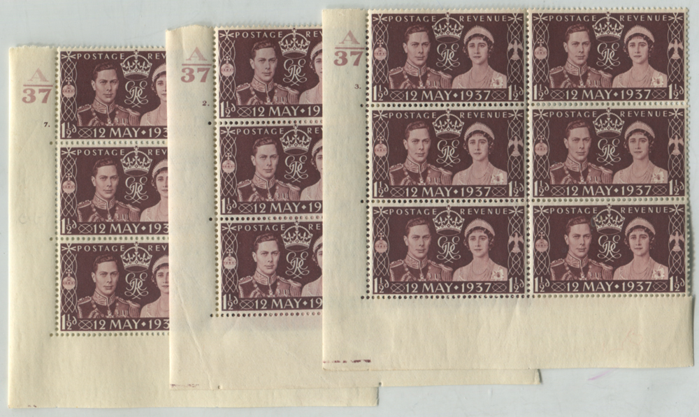 1937 Coronation Cylinder blocks of six (3) with 'Pearl in Orb' variety