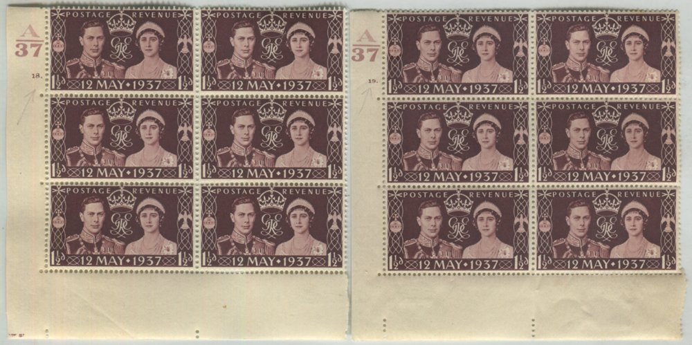 1937 Coronation Cylinder blocks (2) with 'Pearl in Orb' variety