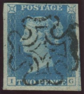 1840 2d blue - Plate 2 IG