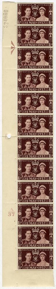 1937 Coronation Cylinder vertical strip of twelve