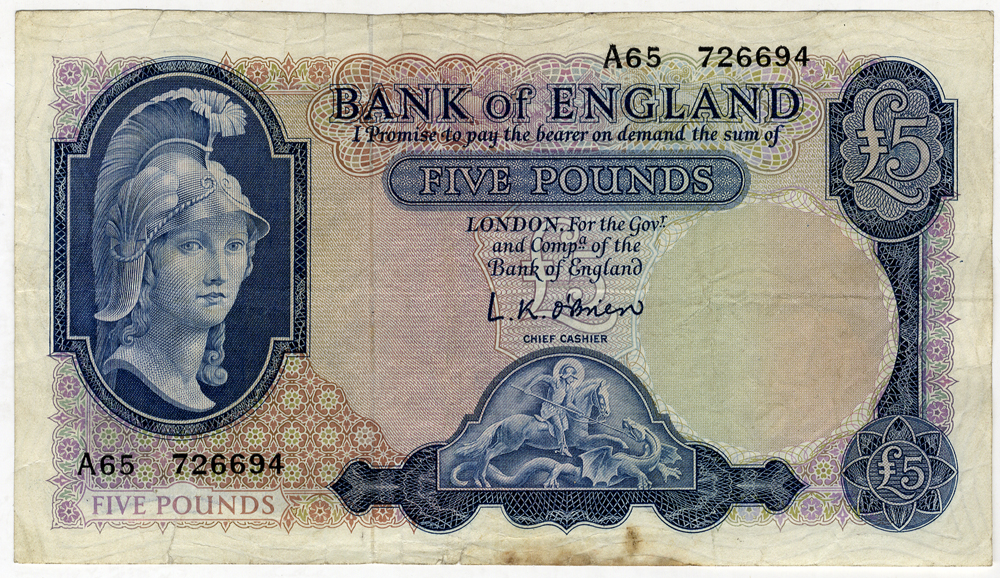1957 O'Brien £5 Helmeted Britannia