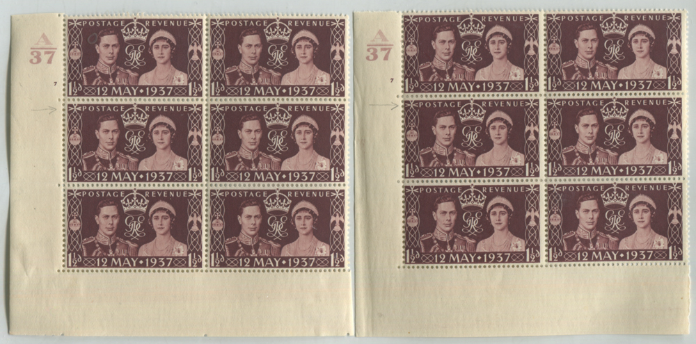 1937 Coronation Cylinder blocks of six (2) with variety